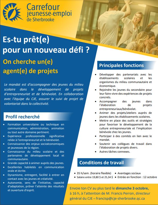 OE Agent projet entrepreneuriat oct2021 - Offre d'emploi - Agent(e) de projets